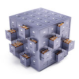 File cabinet cube. On white Stock Images