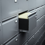 File cabinet with documents. In dark room Stock Images