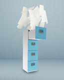File cabinet. And documents with paper Stock Image