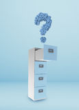 File cabinet. And documents with question mark Stock Photography