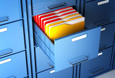 File cabinet and folder. File cabinet 3d  and colorful  folder closeup image Stock Images