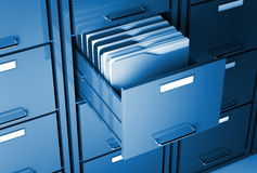 File cabinet and folder. File cabinet 3d  and folder closeup image Royalty Free Stock Images