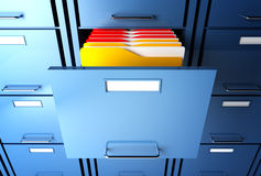 File cabinet and folder. File cabinet 3d  and colorful  folder closeup image Stock Photo