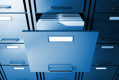 File cabinet and folder. File cabinet 3d blue tone office image Royalty Free Stock Image