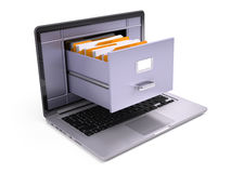 File Cabinet inside the screen of laptop  on white Stock Photo