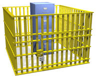 File cabinet lock safe in data security cage. Filing cabinet data storage safe in security cage bars with lock Stock Photo