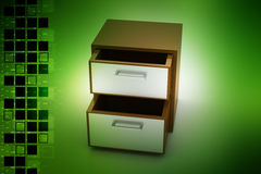 File cabinet with open drawer Stock Image