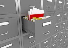 File cabinet with an open drawer. 3d illustration of information search metaphor Stock Photography