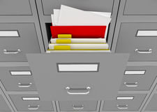 File cabinet with an open drawer. 3d illustration of information search metaphor Royalty Free Stock Photography