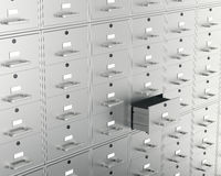 File cabinet with open drawer Royalty Free Stock Photos