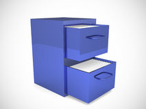 File cabinet with an open drawer with folders. 3d render Royalty Free Stock Image