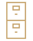 File cabinet symbol. Closeup of business file cabinet symbol on white background Royalty Free Stock Images