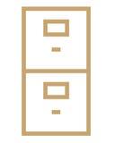 File cabinet symbol. Closeup of business file cabinet symbol on white background vector illustration