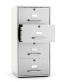 File cabinet  on white background. File cabinet with open drawer isoalted on white background. 3d render Royalty Free Stock Images