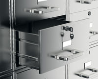 File Cabinet With Open Drawer Royalty Free Stock Image