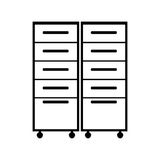 File cabinets drawers. Silhouette of file cabinets drawers over white background. vector illustration Stock Photo