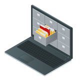 File cabinets inside the screen of laptop computer. Laptop and file cabinet. Data storage 3d isometric illustration Royalty Free Stock Images