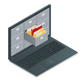 File cabinets inside the screen of laptop computer. Laptop and file cabinet. Data storage 3d isometric illustration Stock Photos