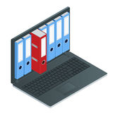 File cabinets inside the screen of laptop computer. Laptop and file cabinet. Data storage 3d isometric illustration Royalty Free Stock Photo