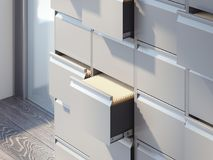 File cabinets in the office interior. 3d rendering. File cabinets in the bright office interior. 3d rendering Royalty Free Stock Photos