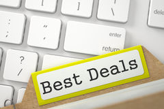 File Card with Best Deals. 3D. Stock Photography