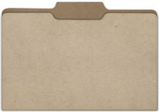 File Cardboard Front. A flat view of a slightly parted cardboard office folder with tabs isolated on white background Stock Photo