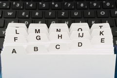 File cards with black computer keyboard Stock Photos
