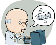 File Clerk. A cartoon man talks about managing the office files Royalty Free Stock Photo