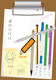 File Clip Board Paper Pen_eps. Illustration of file clip board, paper, pen and doodle Stock Photo