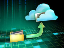 File cloud. Files being uploaded from a folder to an online cloud storage service. Digital illustration Stock Photo
