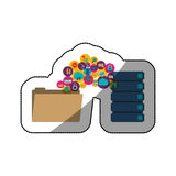 File cloud computing and media icon set design. File cloud computing and media icon set. Multimedia storage and technology theme. Isolated design. Vector Stock Photos