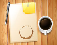 File and coffee. Papers and pencil with coffee mug on the side Stock Images
