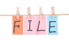 File, Colorful words hang on rope Royalty Free Stock Photos