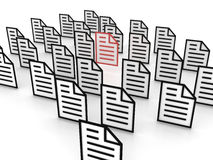 File concept. Search for a good file between lotof document Stock Illustration