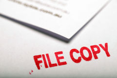 File copy 2. Document and file copy stamp for filing of records stock photos