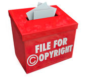File for Copyright Red 3d Entry Box Intellectual Property Protec. File for Copyright protection 3d words on a box for submitting paperwork and documents for Royalty Free Stock Image