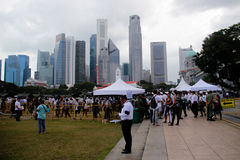 File d'attente chez le Padang Singapour Photo libre de droits