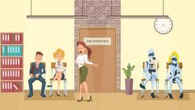 File d'attente de personnes et de robot à la porte dans le couloir de bureau illustration stock