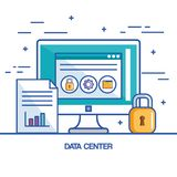 File data center security computer technology. Vector illustration Royalty Free Stock Images