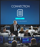 File Database Cloud Network Concept. Business people connection working in the office royalty free stock photo