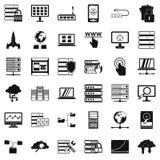 File database icons set, simple style. File database icons set. Simple style of 36 file database vector icons for web isolated on white background Stock Photography