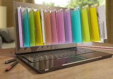 File in database - laptop with folders. 3d rendering Royalty Free Stock Photos