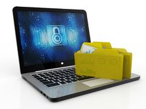 File in database - laptop and folders, 3d rendering, File storage. In white background Stock Image