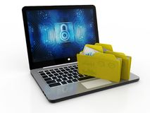 File in database - laptop and folders, 3d rendering, File storage. In white background Stock Photos