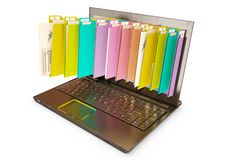 File in database - laptop with folders. 3d rendering royalty free stock photo
