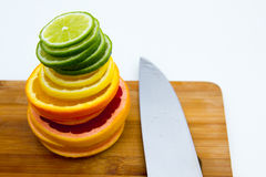 File dei cerchi della frutta Immagine Stock