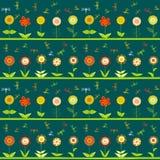 File dei fiori e delle libellule stilizzate Immagini Stock Libere da Diritti