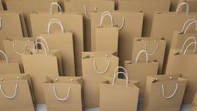 File dei sacchetti della spesa differenti di dimensione rappresentazione 3d Fotografia Stock Libera da Diritti