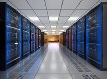 File del sistema del server della lama su fondo bianco Fotografia Stock