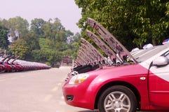 File del taxi rosso Immagine Stock